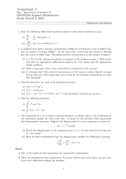 Assignment 4 OMAS120 Applied Mathematics Study Period 3, 2014