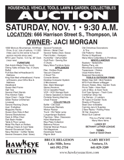 AUCTION SATURDAY, NOV. 1 • 9:30 A.M. OWNER: JACI MORGAN