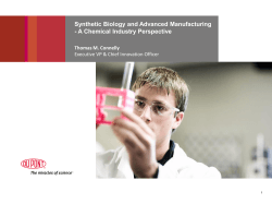 Synthetic Biology and Advanced Manufacturing - A Chemical Industry Perspective