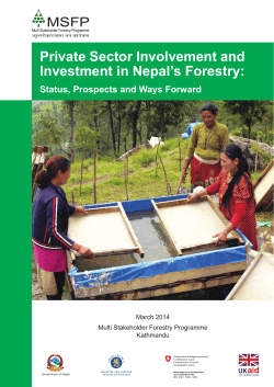 Private Sector Involvement and Investment in Nepal's Forestry: March 2014
