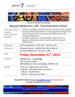 "Beyond Metformin: CDE ""Oral AHA Boot Camp"""