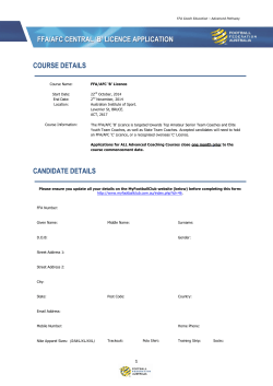 FFA/AFC CENTRAL 'B' LICENCE APPLICATION COURSE DETAILS