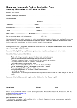 Dewsbury Homemade Festival Application Form – 4.00pm Saturday 8 November 2014 10.00am