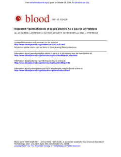 Repeated Plasmapheresis of Blood Donors As a Source of Platelets