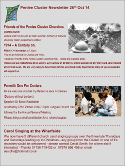 Penlee Cluster Newsletter 26 Oct 14 Friends of the Penlee Cluster Churches