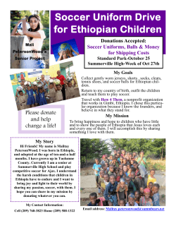 Soccer Uniform Drive for Ethiopian Children Donations Accepted: Soccer Uniforms, Balls & Money