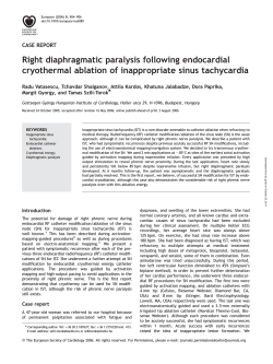 Right diaphragmatic paralysis following endocardial cryothermal ablation of inappropriate sinus tachycardia
