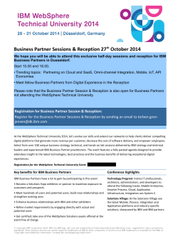Business Partner Sessions & Reception 27 October 2014