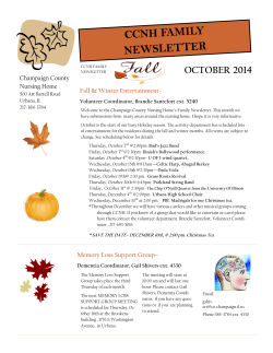 CCNH FAMILY NEWSLETTER OCTOBER 2014 Champaign County