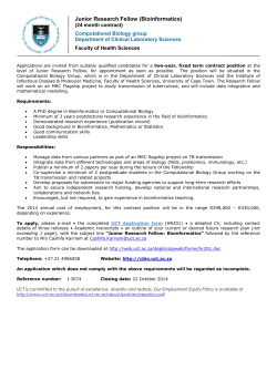 Junior Research Fellow (Bioinformatics)  (24 month contract) Faculty of Health Sciences