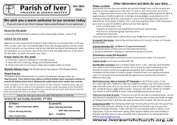 Parish of Iver Other information and dates for your diary……