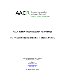 AACR Basic Cancer Research Fellowships 615 Chestnut Street, 17
