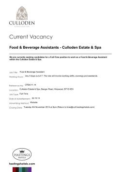 Current Vacancy Food & Beverage Assistants - Culloden Estate & Spa