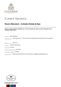 Current Vacancy Room Attendant - Culloden Estate & Spa