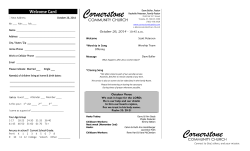 Welcome Card October 26, 2014 -