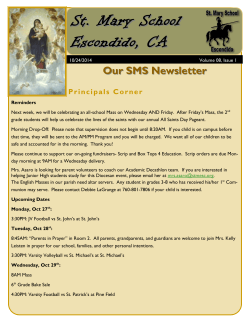 St. Mary School  Escondido, CA Our SMS Newsletter