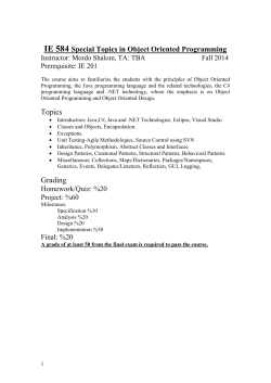 IE 584 Special Topics in Object Oriented Programming