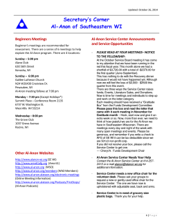 Secretary's Corner Al-Anon of Southeastern WI Beginners Meetings Al-Anon Service Center Announcements