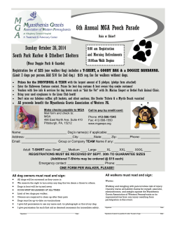 6th Annual MGA Pooch Parade Sunday October 26, 2014