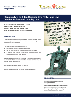 Common Law and Non Common Law Politics and Law Programme