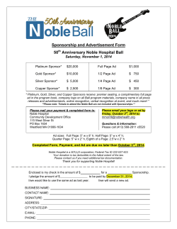 Sponsorship and Advertisement Form 50 Anniversary Noble Hospital Ball Saturday, November 1, 2014