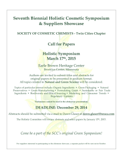 Seventh Biennial Holistic Cosmetic Symposium & Suppliers Showcase Call for Papers