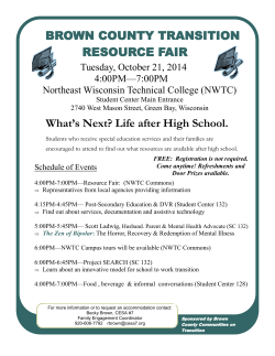 BROWN COUNTY TRANSITION RESOURCE FAIR What's Next? Life after High School.