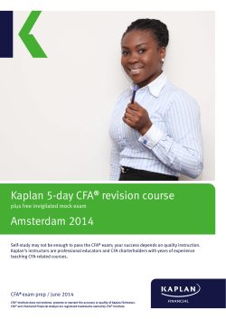Kaplan 5-day CFA revision course Amsterdam 2014 ®