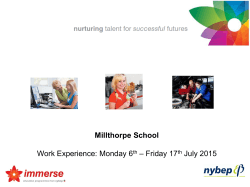 – Friday 17 Work Experience: Monday 6 July 2015