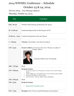 2014 WWHEL Conference – Schedule October 23 & 24, 2014