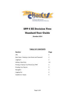 SPP 6 EE Decision Tree Standard User Guide October 2014