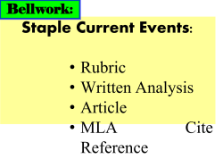 Staple Current Events: • Rubric • Written Analysis • Article