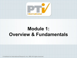 Module 1: Overview & Fundamentals