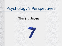 Psychology's Perspectives The Big Seven
