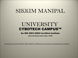 SIKKIM MANIPAL UNIVERSITY CYBOTECH CAMPUS™ An ISO 9001:2008 Certified Institute