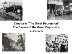 "Canada in ""The Great Depression"" The Causes of the Great Depression"