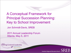 A Conceptual Framework for Principal Succession Planning: Key to School Improvement