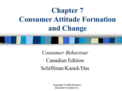 Chapter 7 Consumer Attitude Formation and Change Consumer Behaviour
