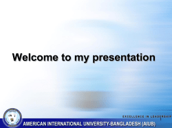 Welcome to my presentation 1