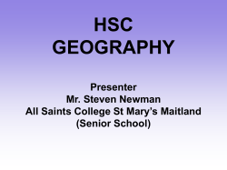 HSC GEOGRAPHY Presenter Mr. Steven Newman