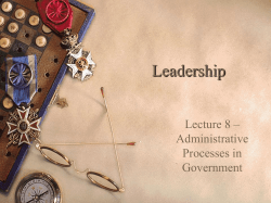 Leadership Lecture 8 – Administrative Processes in