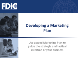 Developing a Marketing Plan Use a good Marketing Plan to