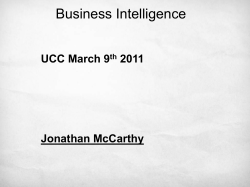 Business Intelligence UCC March 9 2011 Jonathan McCarthy
