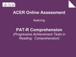 ACER Online Assessment PAT-R Comprehension (Progressive Achievement Tests in Reading:  Comprehension)