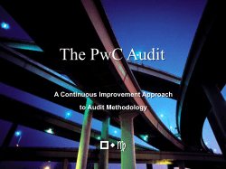 The PwC Audit pwc A Continuous Improvement Approach to Audit Methodology