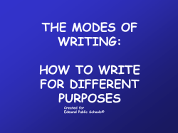 THE MODES OF WRITING: HOW TO WRITE FOR DIFFERENT