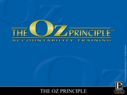 THE OZ PRINCIPLE . ed rv