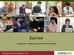 Escrow Janet Broome – Strategic Accounts and Products Manager