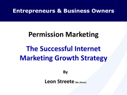 Permission Marketing The Successful Internet Marketing Growth Strategy Leon Streete