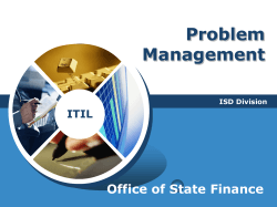 Problem Management Office of State Finance ITIL
